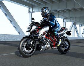 ktm 990 super duke r with rider 3D asset