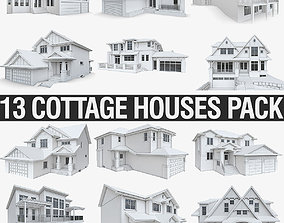 3D asset Modern Cottage Houses-13 Pack