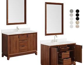 Talyn 48 Mahogany Vanity rectangular and oval table 3D