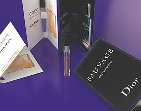 3D Dior and Chanel perfume samples with paper