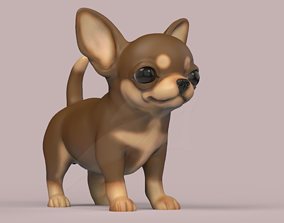 Cute Puppy Chihuahua dog STL and VRML 3D printable model