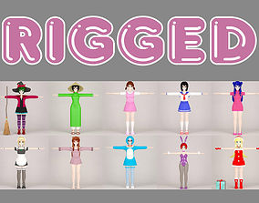 T pose rigged model of 10 toon girls rigged