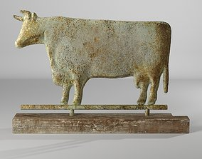3D model Vogel Magnesia Cow on Pine Wood Base Figurine