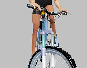 3D model animated man riding bike