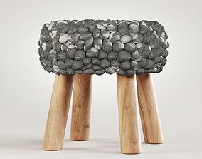 Chunky Grey Felted Stool 3D model