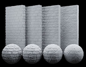 White brick rough texture PBR 100 x 100 cm 3D model