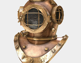 Low Poly PBR Diving Helmet 3D model