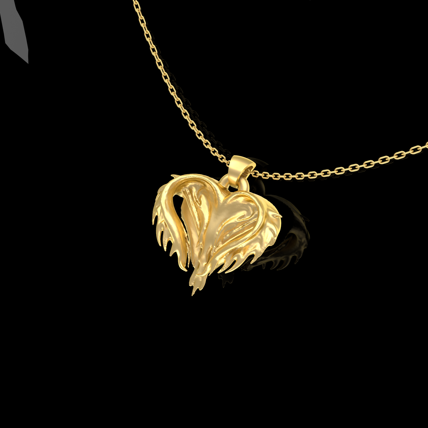 Chaotic Heart Pendant jewelry Gold 3D print model