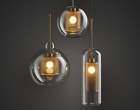 Tudo and Co Chiswick Glass Pendant Light 3D