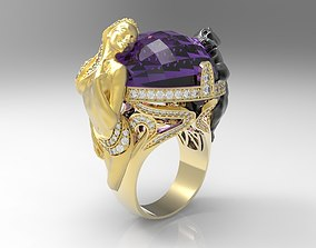 Lady and Leopard ring stl file model