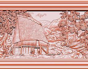 3D printable model Mural landscape wood carving file stl 4