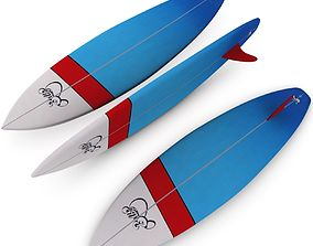 3D model low-poly Surfboard