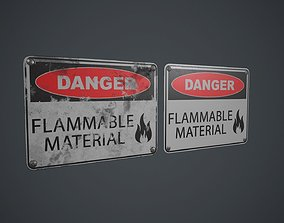 3D model Plastic Danger Sign 3 PBR Game Ready