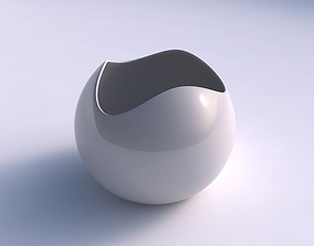 Bowl Spheric wavy smooth 3D print model