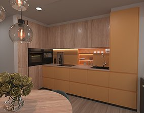 3D Yellow kitchen