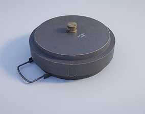 WW1 German Landmine Tellermine asset 3D model