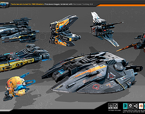 7 Low-Res Light Spaceships-Vol13 3D model