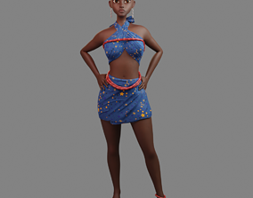 3D model rigged African female character