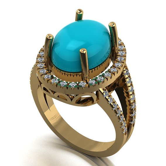 Turquoise oval women ring