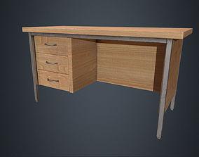 3D asset Beech Wood Office Desk - Wood Desk - Office 2