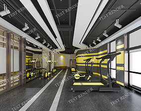 yellow modern fitness room 3D