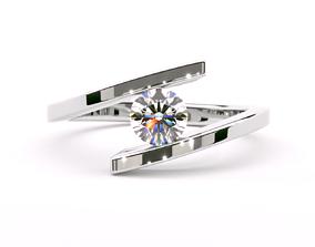 3D print model Twist Tension Diamond Ring Lilian