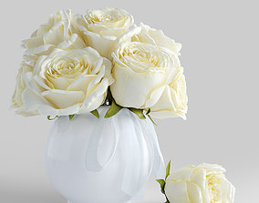 3D model Bouquet of white roses greens