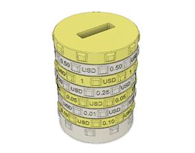 Sorting piggy bank USD - S size 3D printable model