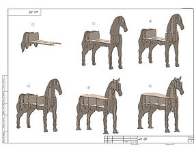 3D CNC vector plans for plywood horse coffee table