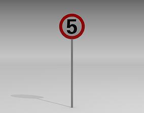3D 5 Speed limit sign