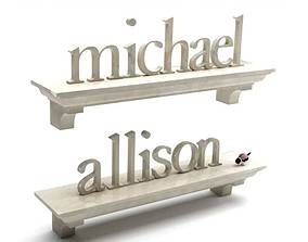 3D Stone Nameplate Wall Shelves