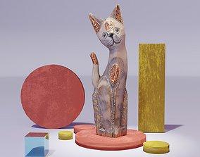 3D model The cat ethnic statuette 01