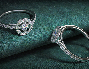 3D print model elegant women diamond ring