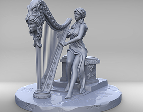 Woman with harp stl and high poly 3D printable model