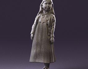 000994 little girl in blue dress 3D Print
