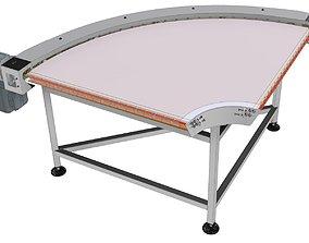Curve conveyor 90 degree with poliuretan Belt 3D model