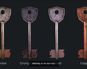 3D model Six metal key for the door lock