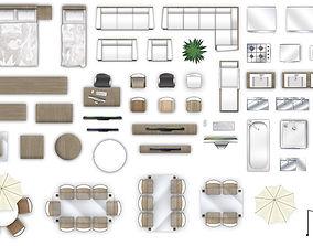 3D model 2d furniture top-down view