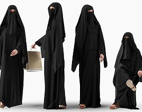 3D model Woman wearing Saudi Arabian hidshab in 4 poses