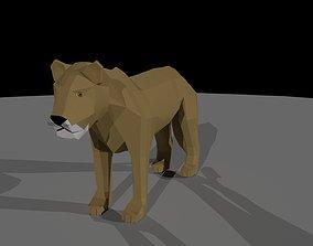 Lion Low Poly Cartoon Model 3D asset