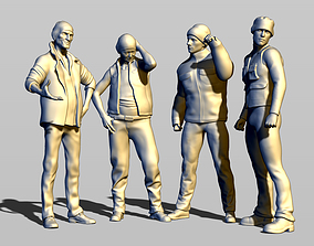 3D printable model 4 truck drivers parked