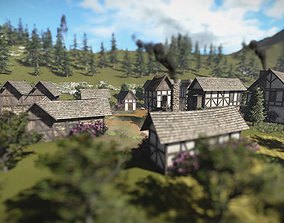 3D model 15 Medieval Buildings and 12 Props for Games