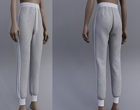3D model Grey Sweatpants -female joggers