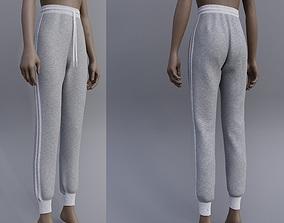 3D model Grey Sweatpants -female joggers