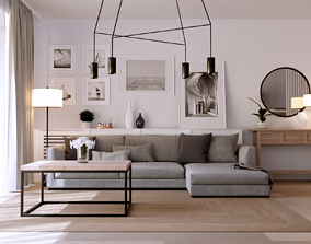 3D Livingroom and Kitchen interior scene