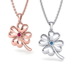 Clover Lucky pendant 3dmodel with stone