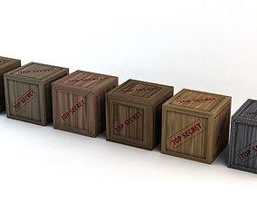 3D asset Top Secret Wooden Crates Pack