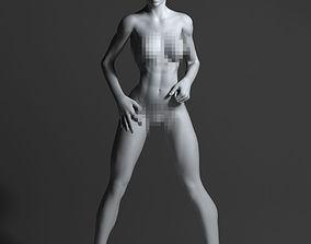 Strong naked woman 3D print model girl