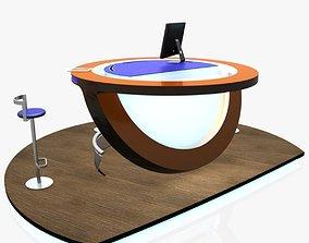 3D model Virtual Tv Studio News Podium Desk Chair Imac27