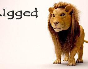 Lion and lioness 3D asset